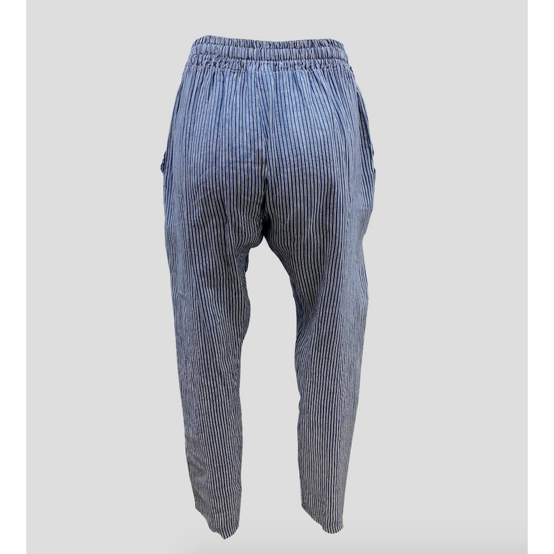 Talia Benson 100% Linen Printed Pant in Blue Pinstripe