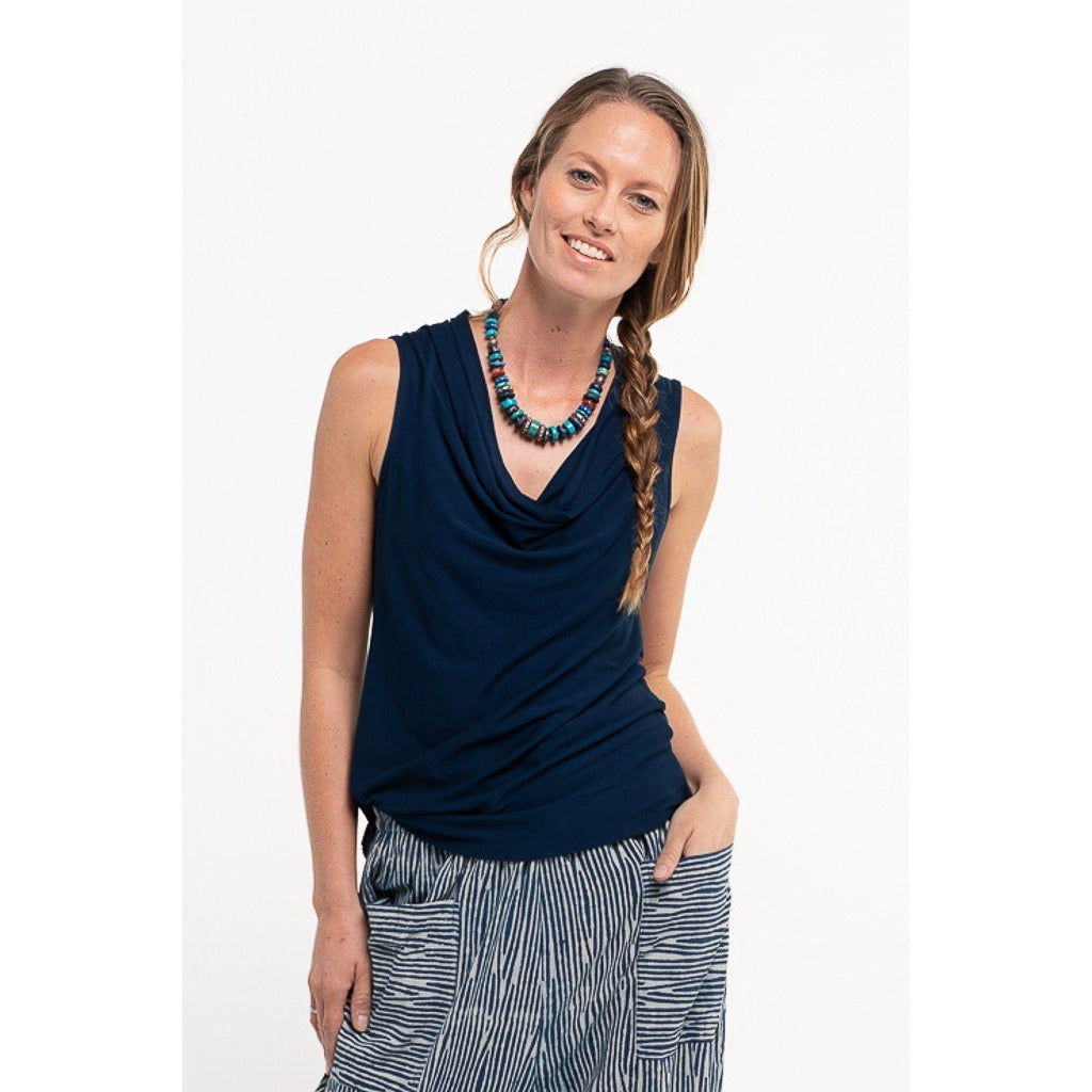 Soulsong Cowl Neck Top in Navy