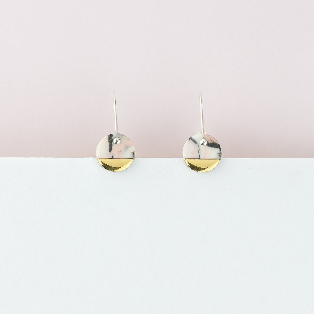 Erin Lightfoot Spot Earrings in Pink Marble