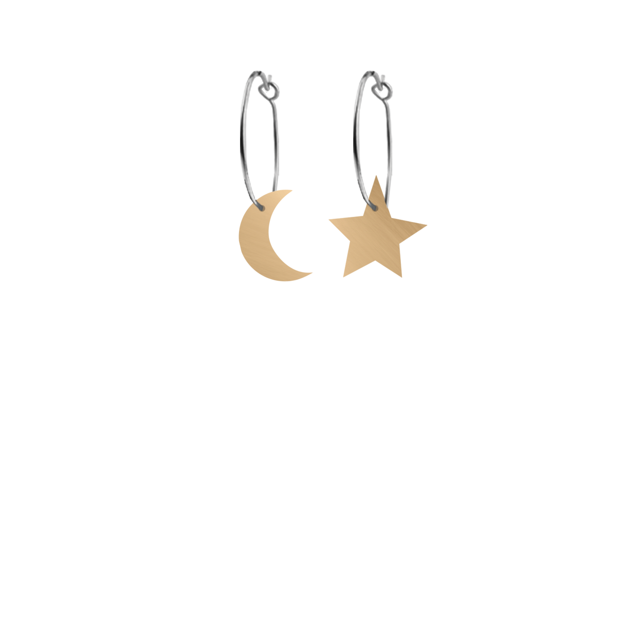 Moe Moe Design Signature Stars and moon Hoop Earrings