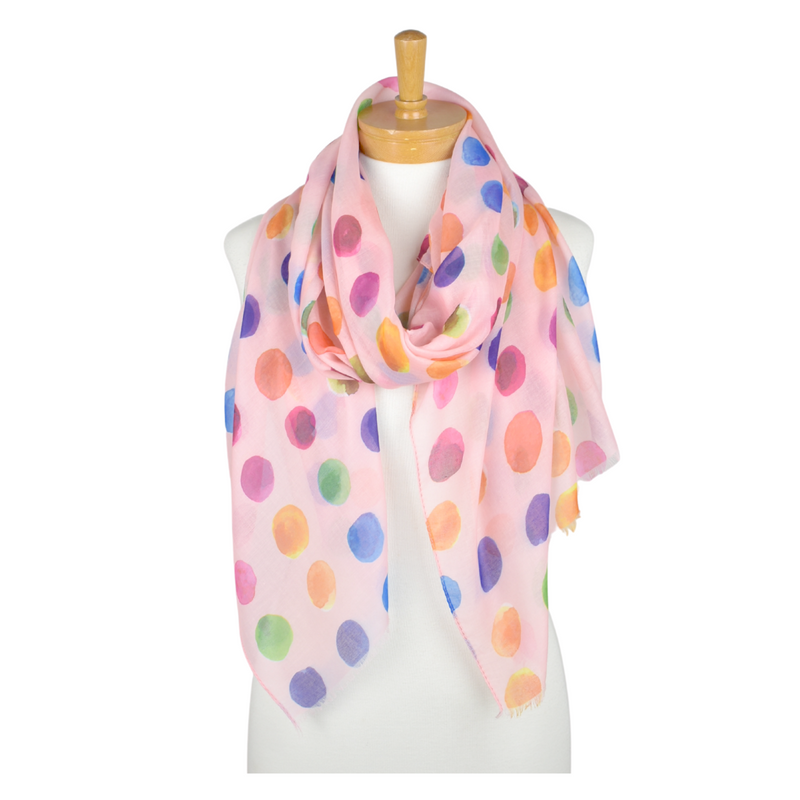 Taylor Hill Scarves Pink Multi Coloured Polka Dot Scarf