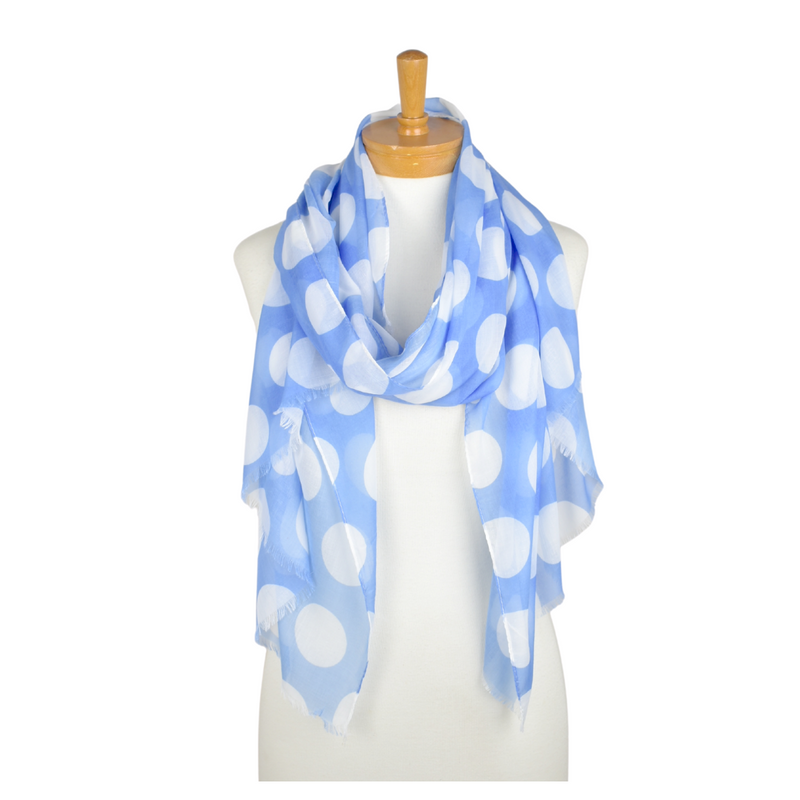 Taylor Hill Scarves Blue/White Polka Dot Scarf