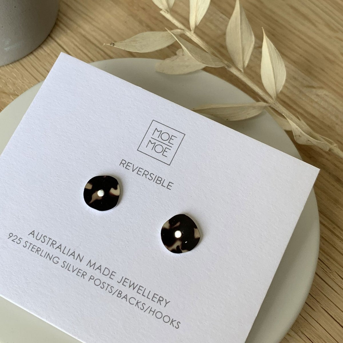 Moe Moe Design Tortoise Shell Mini Pebble Stud Earrings
