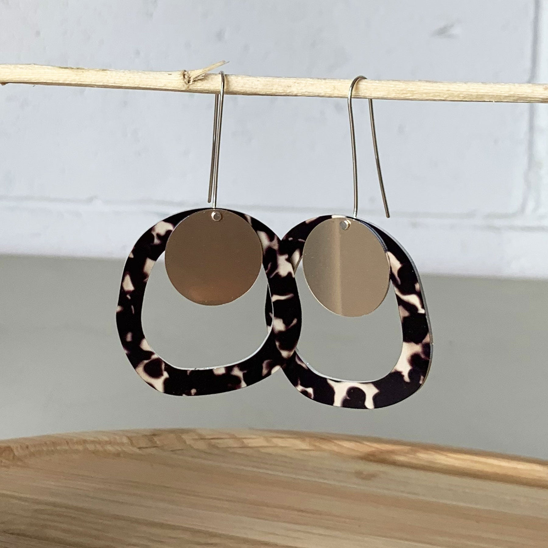 Moe Moe Design Tortoise Shell Organic Outline Long Drop Earrings