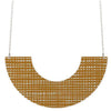 Moe Moe Design Crosshatch Pattern Long Chain U Shape Necklace