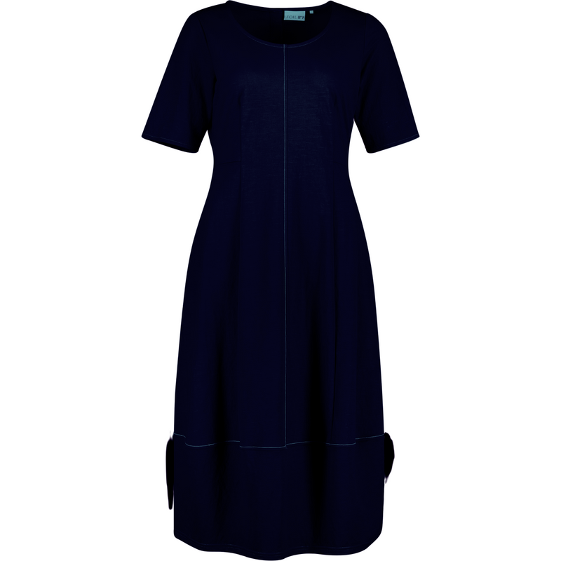 Foil Perfect Impass Lantern Dress in Ink Navy