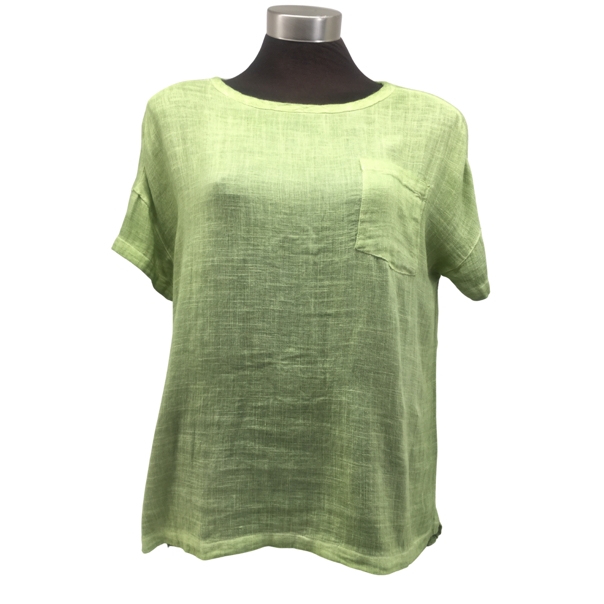 365 Days Pocket Linen Tee Top in Lime