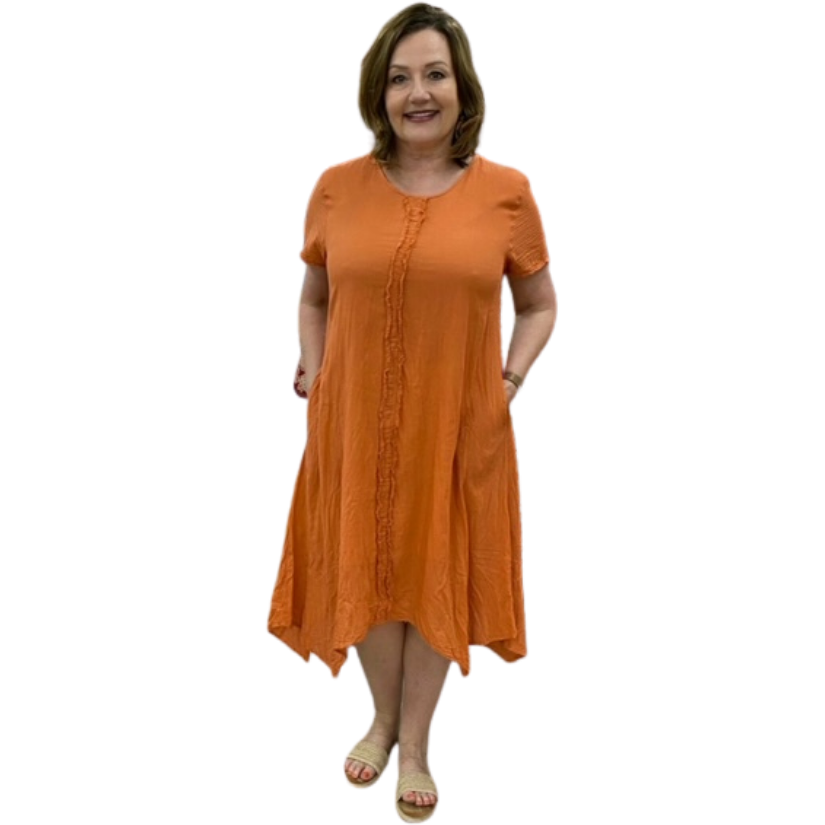 Namastai Short sleeve drop side Dress in Apricot