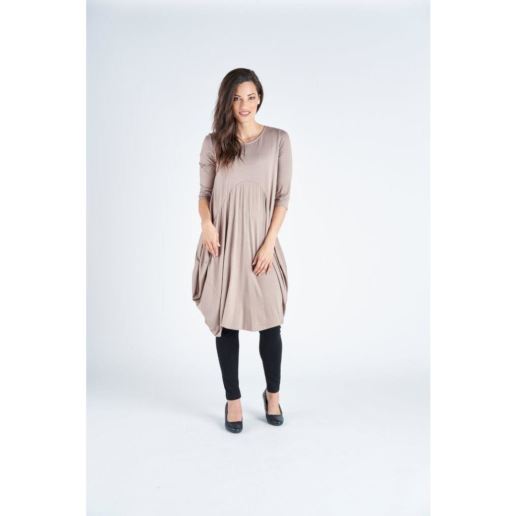 Vivid Knit Cotton Mix Drape Dress in Taupe