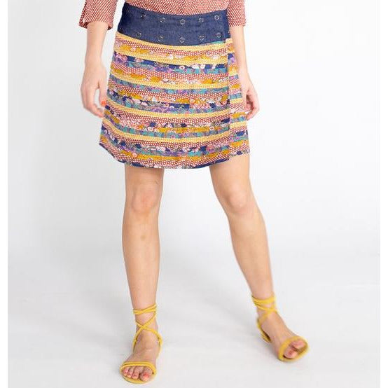 Boom Shankar Apatchy Skirt in Rouge mixed Block print.