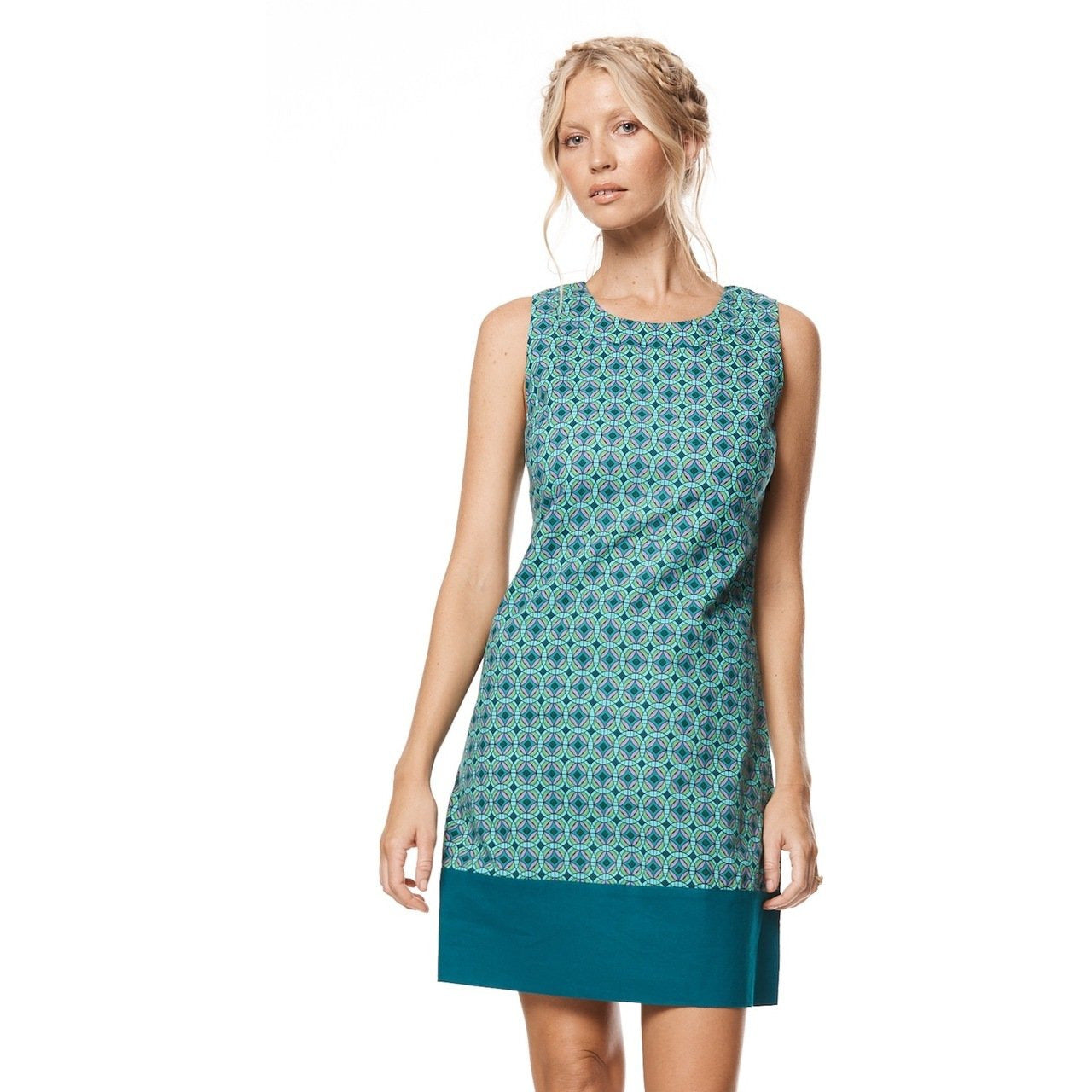 MahaShe Sixties Tunic in Kaleido Teal Print