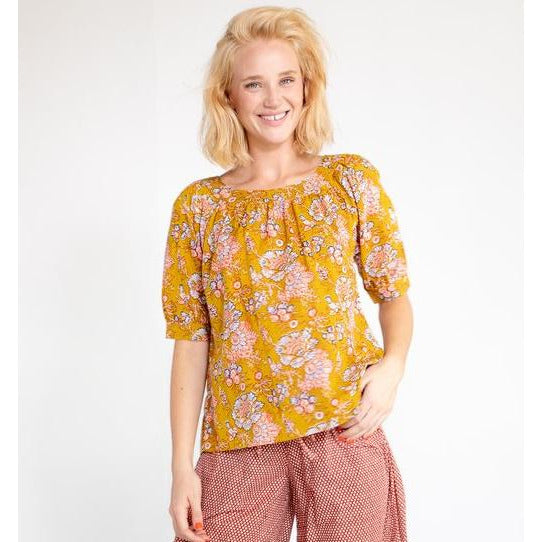 Boom Shankar Bliss Top in Yarrow Block Print