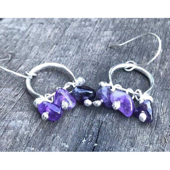 Metal Rok Boho Drop Amethyst Earrings