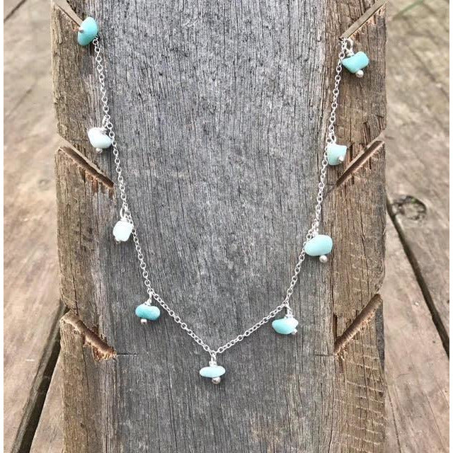 "Metal Rok La Bonita Amazonite Single Strand 18"" Necklace with 9 Stones"