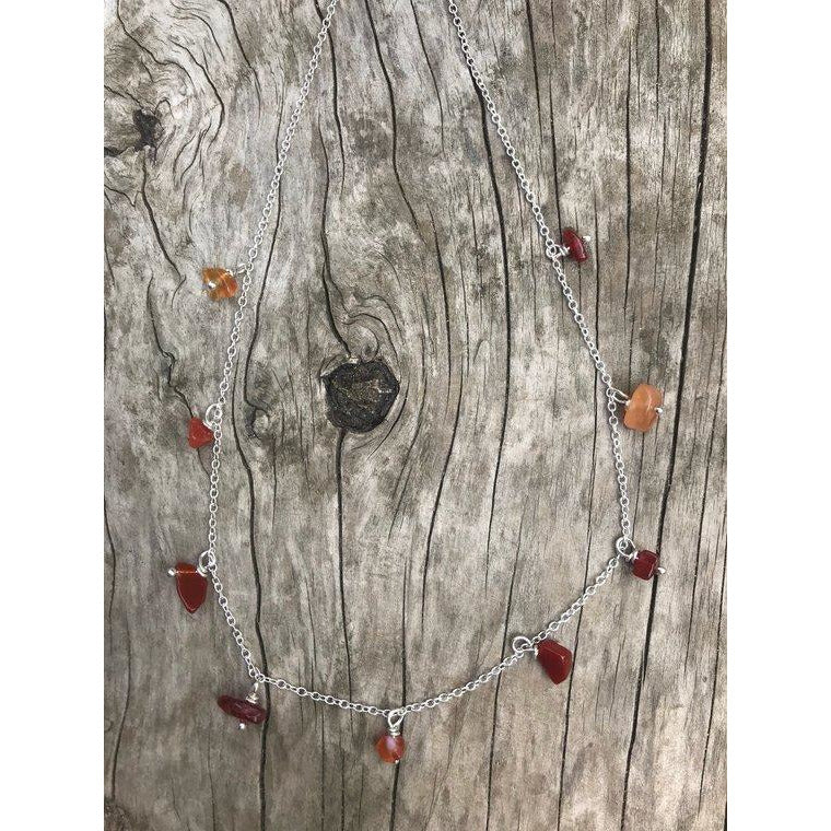 "Metal Rok La Bonita Carnelian Single Strand 18"" Necklace with 9 Stones"