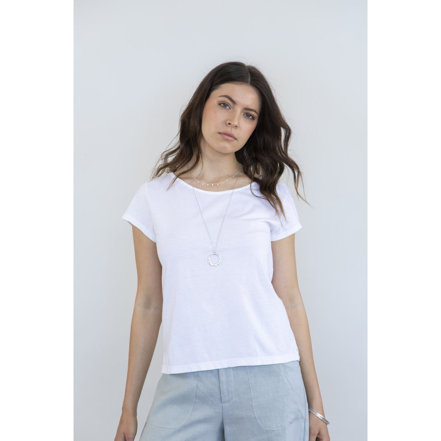 charley vella white cotton tee top