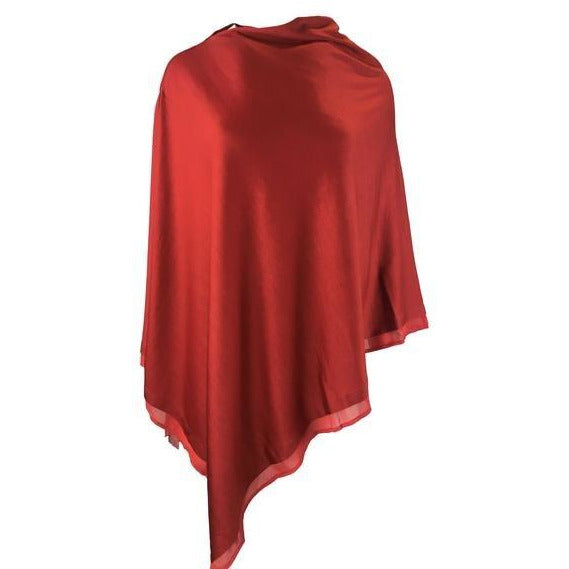 Ebony Merino Wool Easy Style Layer Poncho in Ruby Red