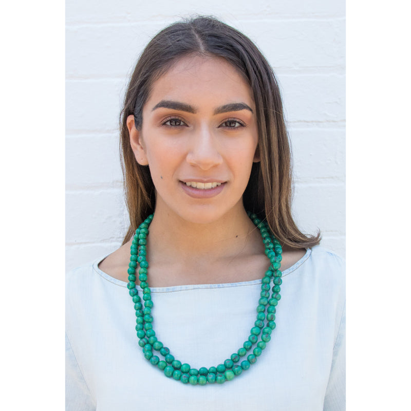 Acai Bead Necklaces by Melko in Emerald