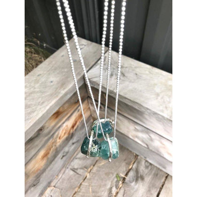 Metal Rok Raw Pendant with Fluorite Necklace