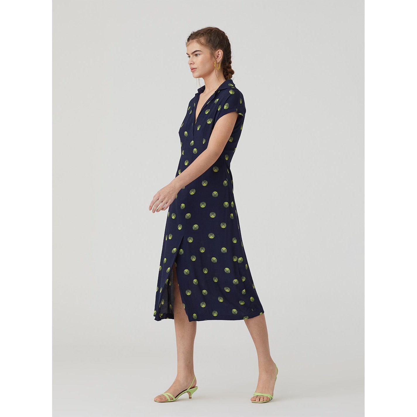 Nice Things Hatching Dot Midi Dress in Navy