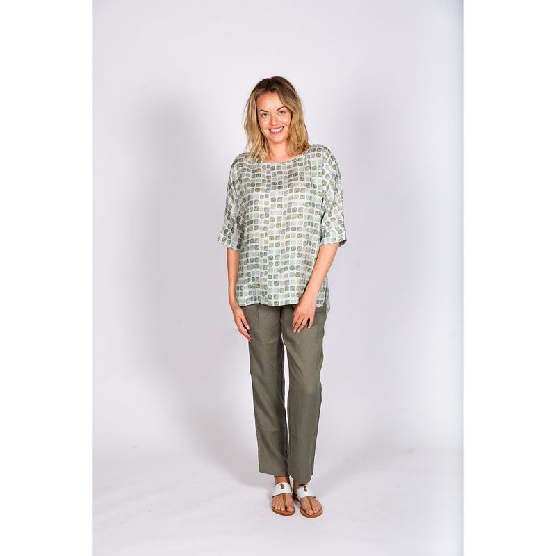 Naturals by O & J Mosaic Round Neck Top