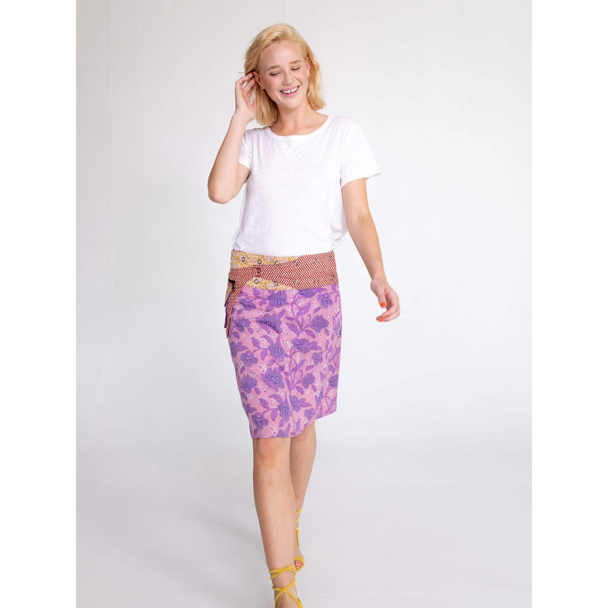 Boom Shankar Rosanna Long Skirt in Amber Zephyr Block Print