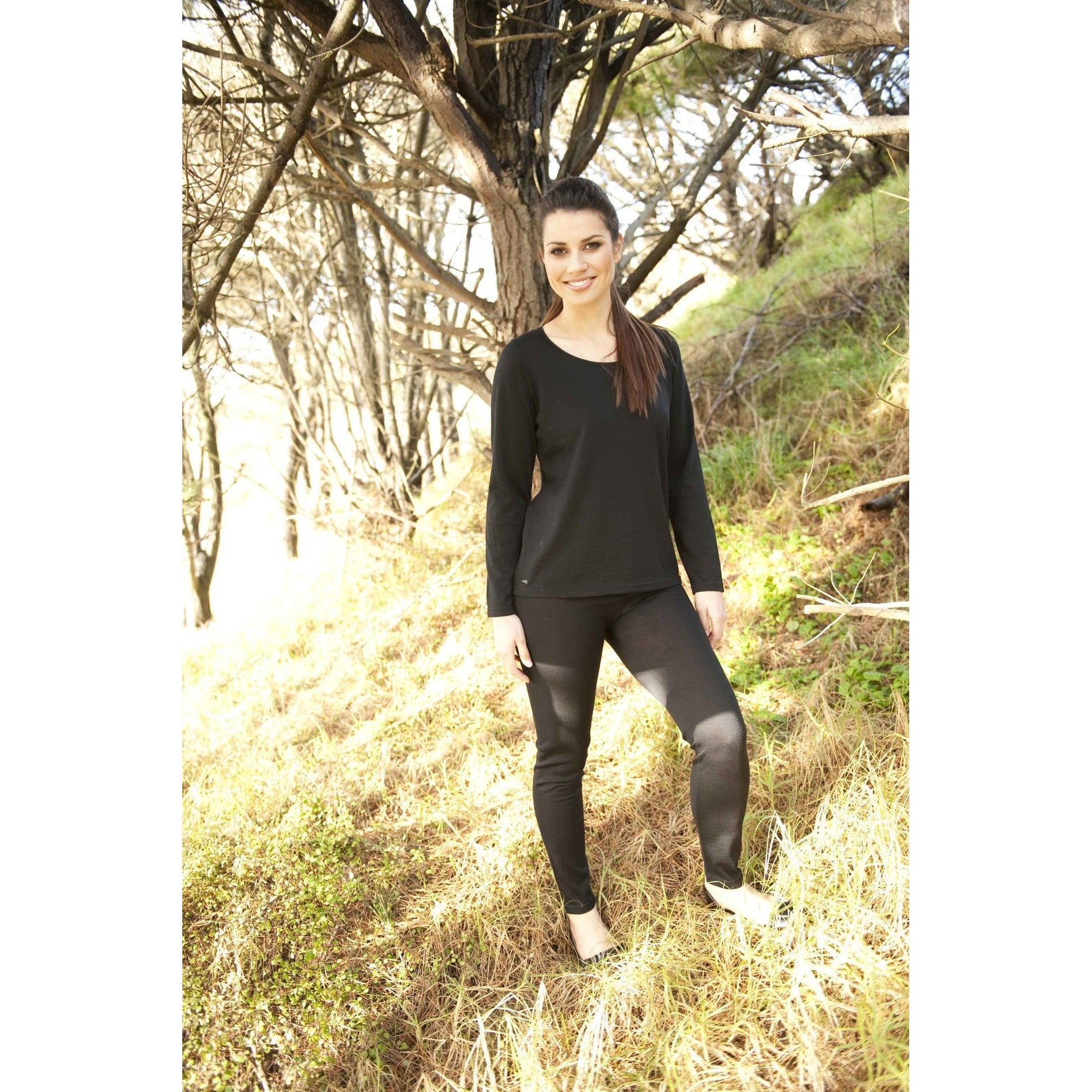 Ebony Merino Wool Merino Leggings in Black