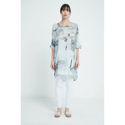 Tirelli Digital Print Empire Long Line top in Aqua