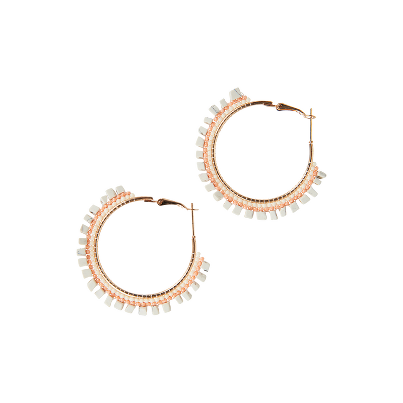 eb&ive Society Hoop Earrings in White and Peach
