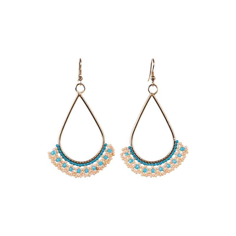 eb&ive Society Bead Earring in Peach Cyan