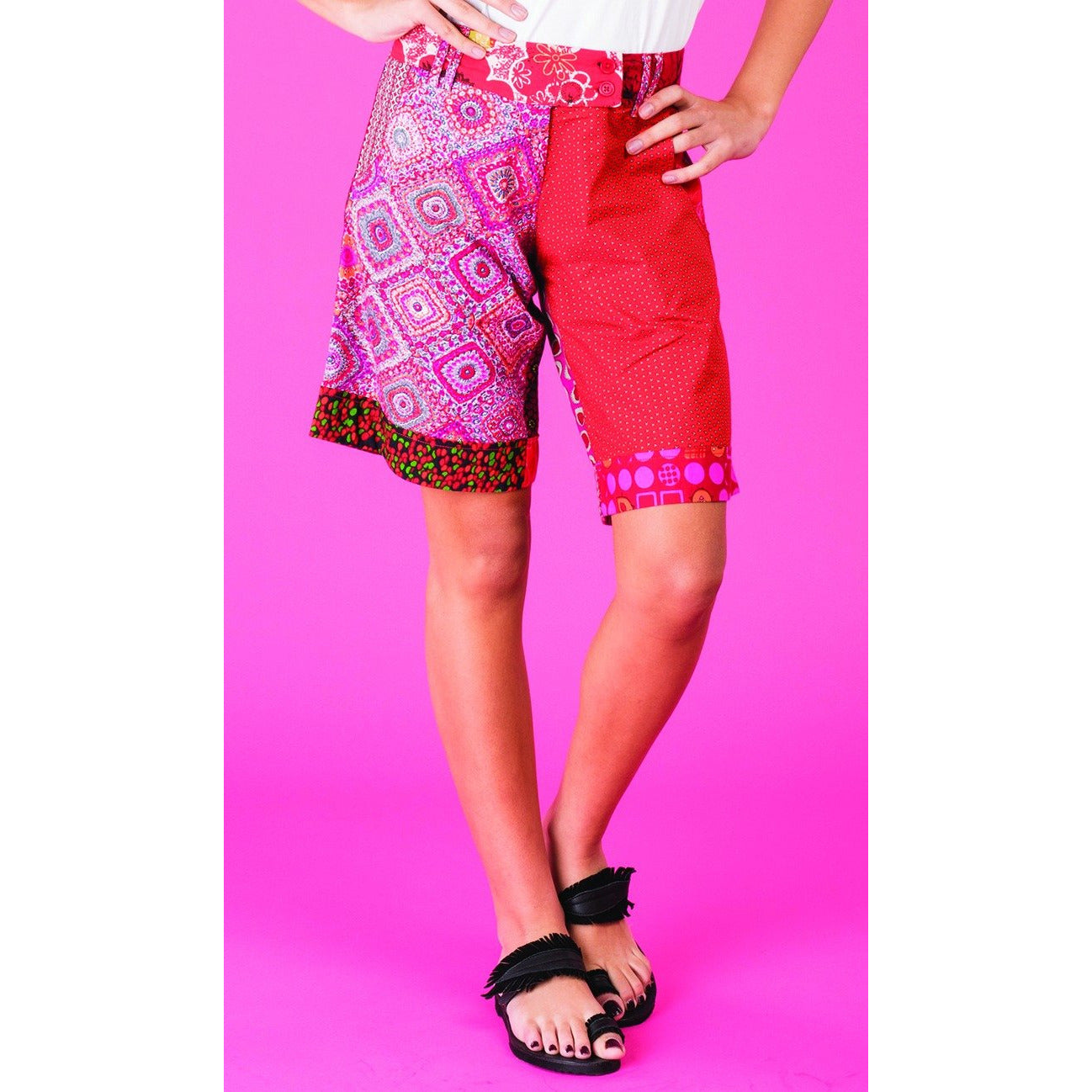 Boom Shankar Tone Patch Shorts in Red Tones