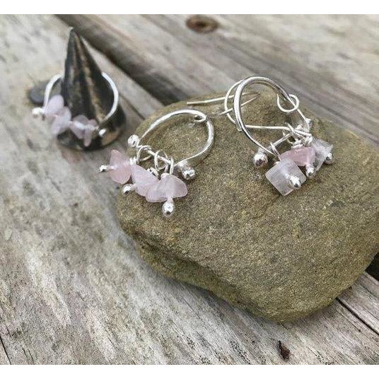 Metal Rok Boho Drop Rose Quartz Earrings