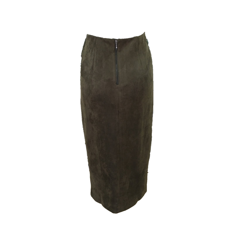 Foil Easily Suede Skirt in Serpent