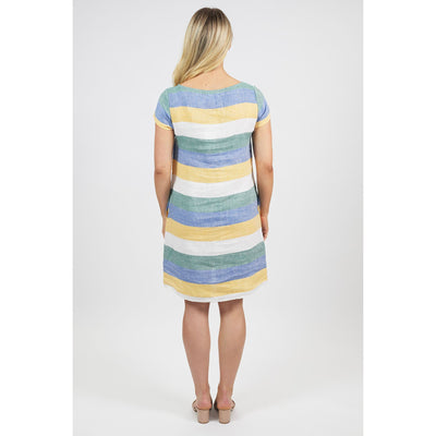 Naturals by O & J A-line Linen Dress in Multi Stripe