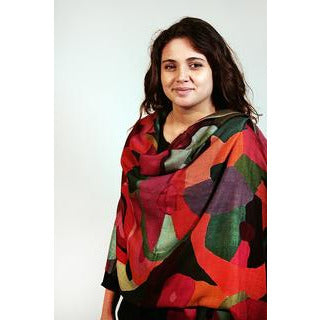 Tradition Textiles 100% Merino Wool Abstract Scarf in warm colours
