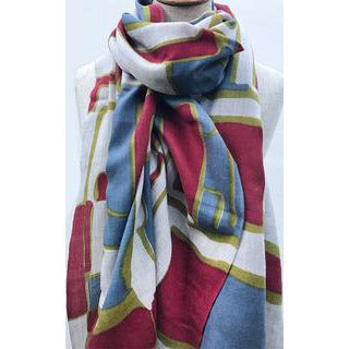 Tradition Textiles 100% Merino Wool Retro rectangles Scarf in Red/Olive