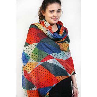 Tradition Textiles 100% Merino Wool Shapes and Dots Scarf