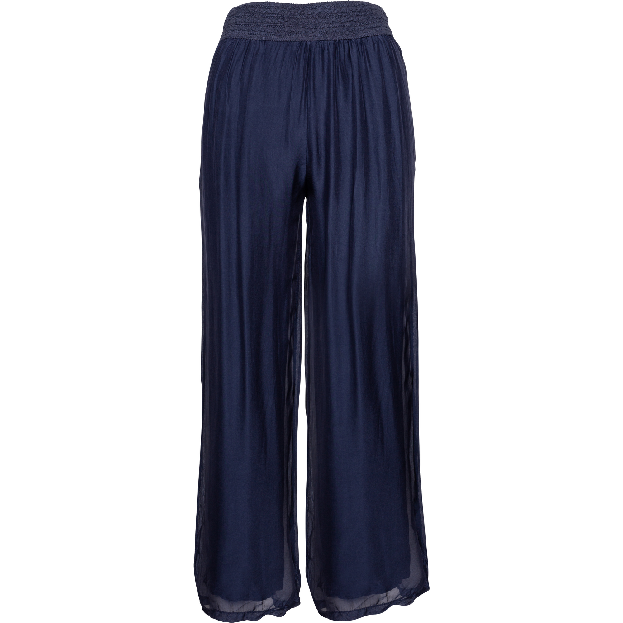 M Made In Italy Woven Silk Pant in Navy