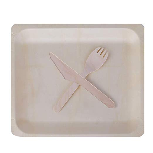 Gmark Disposable Wooden Plates Set With Wooden Cutlery 25 Plates