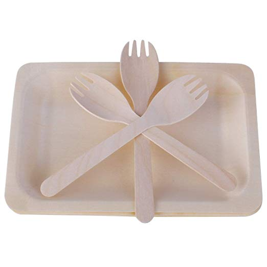 Gmark Disposable Wooden Plates Set With Wooden Sporks 25 Plates 25