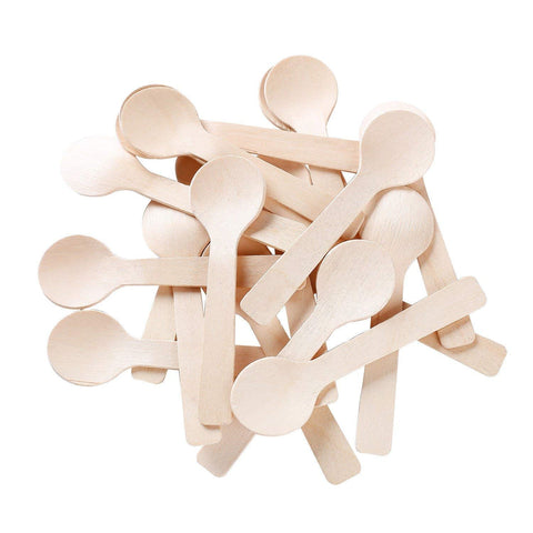 "Gmark Eco-Friendly 4"" Mini Wooden Spoons 200 ct, Biodegradable Compostable Birchwood (200pcs/bag) GM1042"