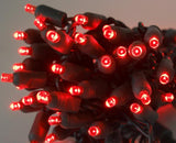 "5mm LED red string lights 70 bulb 4"" spacing"