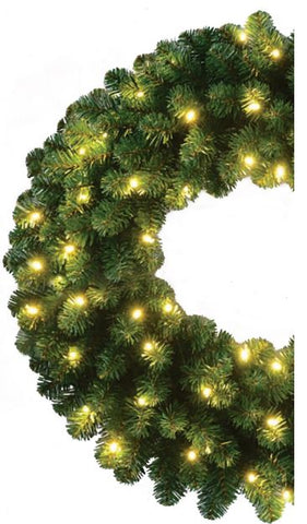 "60"" oregon fir wreath commercial grade warm white led"