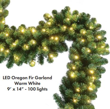 "Oregon Fir Commercial Grade Garland - 9ft x 14"" - Lit - 5mm LED Warm White"