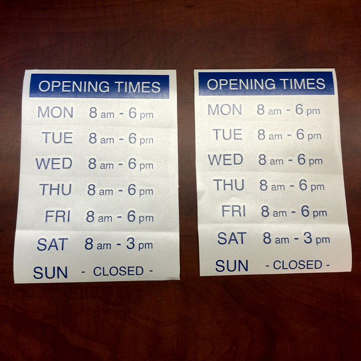 Business Hours Vinyl Door/Window Lettering