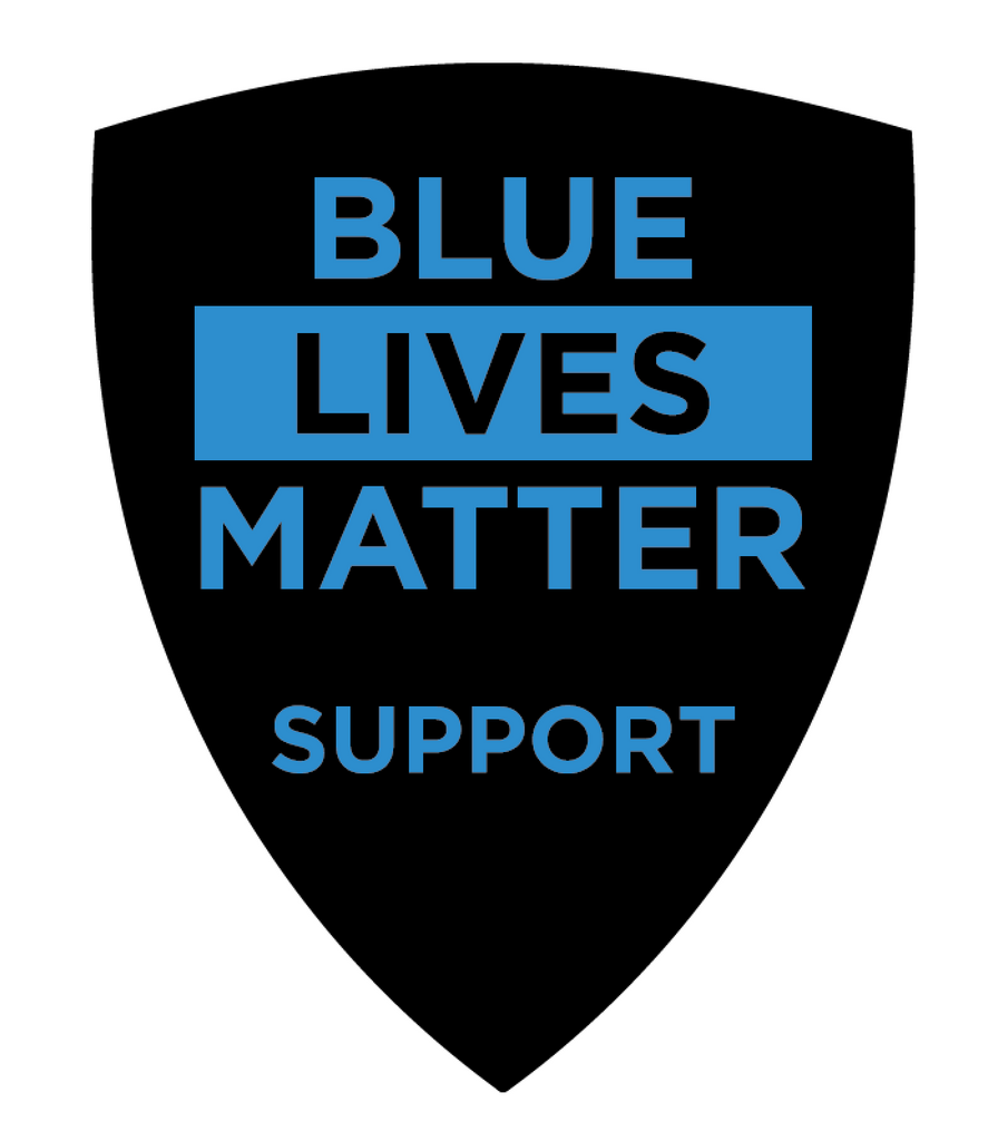 Black & Blue Shield Shaped 'Blue Lives Matter Support' Police Department Vinyl Decal