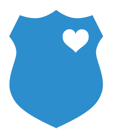 Blue Police Department Shield with White Heart Vinyl Decal