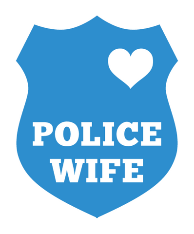 Police Wife Police Department Shield with Hearth Blue Vinyl Car Sticker Decal