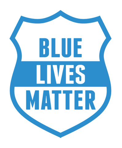 White & Blue 'Blue Lives Matter' Shield Shaped Police Department Car Sticker