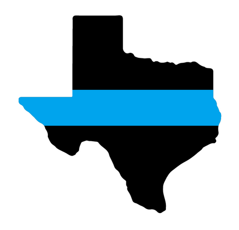 State of Texas with Thin Blue Line Law Enforcement Support Car Sticker Decal